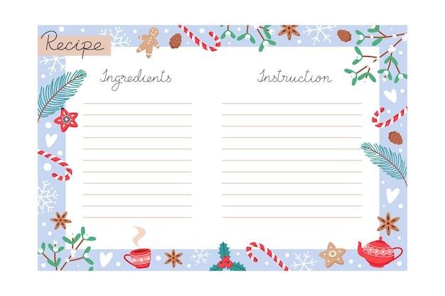 Modello di ricetta di cottura per le vacanze di natale con ingredienti e istruzioni per copiare lo spazio