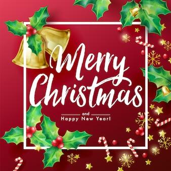 Banner di vacanze di natale con auguri di stagione e bordo decorato con rami di agrifoglio, stelle, bastoncini di zucchero, fiocchi di neve e campane.