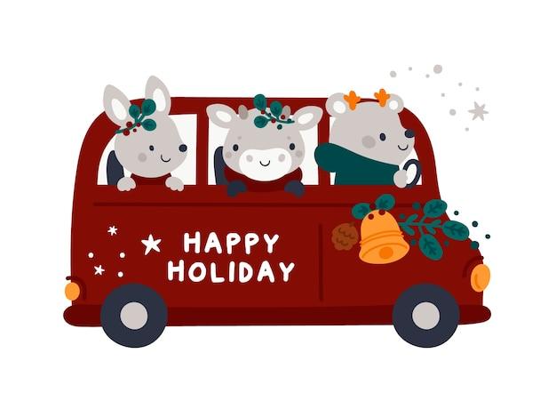 Biglietto di auguri di natale con bus rosso del fumetto, cuccioli di animali e decorazioni natalizie