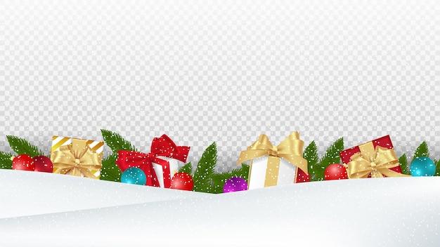 Progettazione di vacanze di natale con scatole regalo su sfondo di neve e trasparenza.