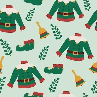 Abito da elfo per le vacanze di natale con motivo a campana e foglie senza cuciture