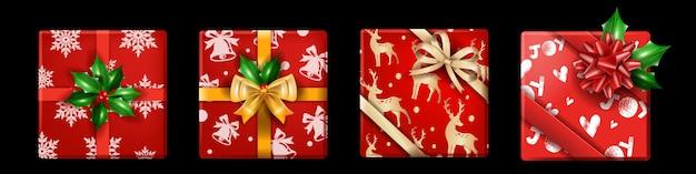 Set di scatole regalo per vacanze di natale vettoriali pacchetto regalo realistico di natale vista dall'alto inverno capodanno
