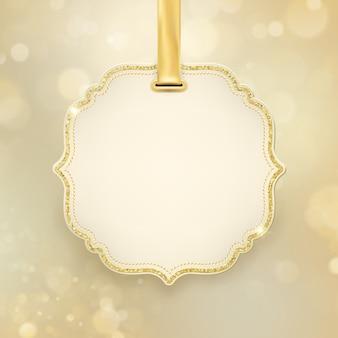 Scintillio astratto d'ardore di festa di natale defocused sfocato bokeh sfondo oro con etichetta e spazio per il testo.