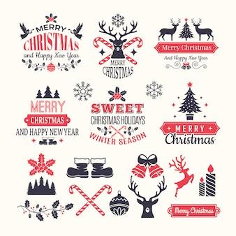 Etichette di vacanze di natale. distintivi e loghi invernali vintage con vari elementi di neve di capodanno e posto per il vostro testo