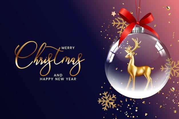 Modello di poster di felice anno nuovo e buon natale per sfondo festa di festa di natale