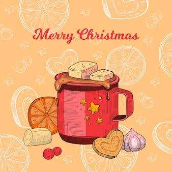 Cartolina vacanze di natale con tazza di cioccolata calda, marshmallow, biscotto, fetta d'arancia. incisione x-mas o poster di capodanno 2021 con cacao su sfondo arancione. cartolina di bevanda di natale