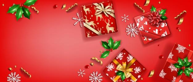 Natale vacanza vendita sfondo vettoriale natale inverno regalo scatola vista dall'alto illustrazione rosso fiocco di neve