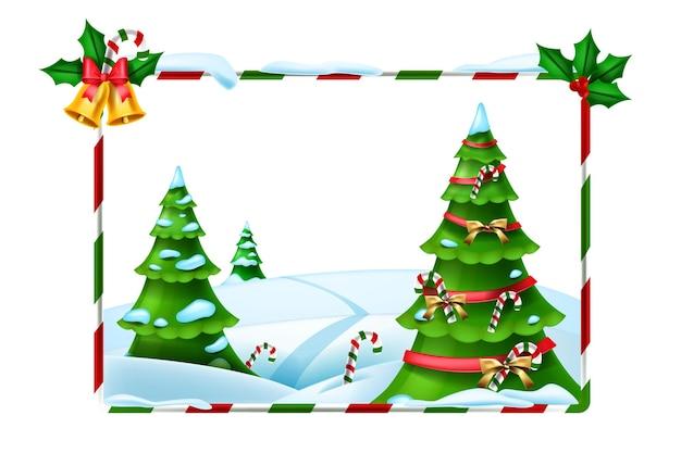 Vacanze di natale cornice vettoriale capodanno inverno sfondo vista foresta albero di natale decorato
