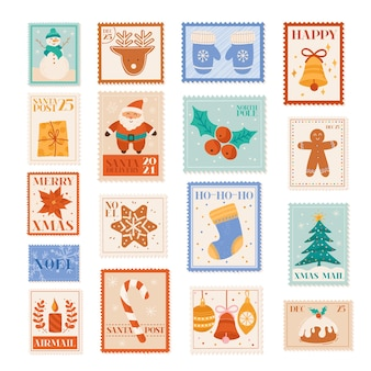 Francobolli vettoriali per le vacanze di natale, elementi di design da cartolina, posta di lettere invernali, babbo natale, fiocchi di neve, albero di natale, collezione di etichette per feste, set di stampe per album di ritagli di decorazione di pupazzo di neve, biglietto di capodanno