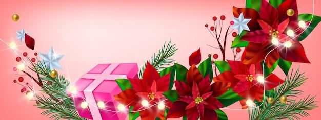 Banner floreale invernale vacanze di natale con stella di natale rossa, confezione regalo, rami di abete, luci