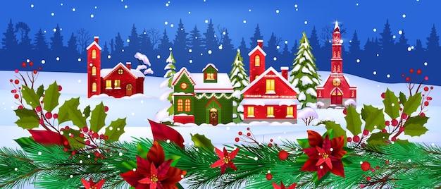 Illustrazione di case di vacanze invernali di natale con piccolo villaggio, foresta, neve, rami di abete