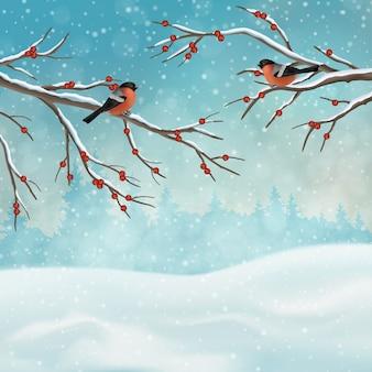 Paesaggio invernale di vacanze di natale con rami di alberi e uccelli