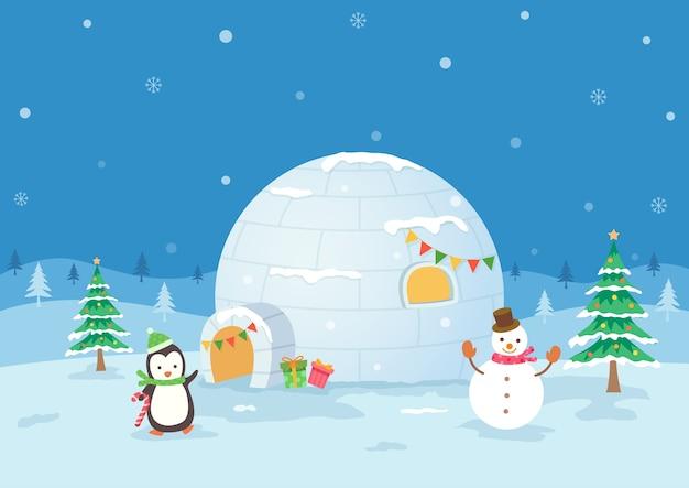 Vacanze di natale con il pinguino e il pupazzo di neve su sfondo di neve igloo