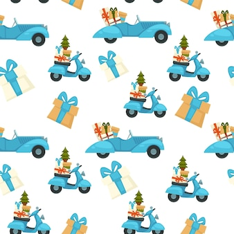 Celebrazione delle vacanze di natale, modello senza cuciture di scooter con pino e regali. regali per il saluto invernale. sfondo o stampa per le carte. capodanno e festività natalizie. vettore in stile piatto
