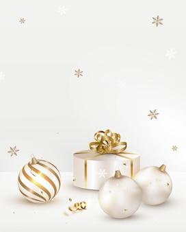 Decorazione di vacanze di natale, composizione verticale con scatola regalo e palline