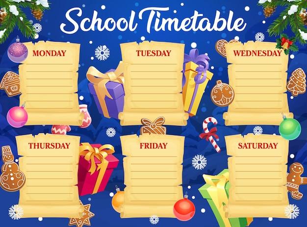Modello di orario scolastico per le vacanze di natale