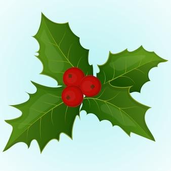 Natale agrifoglio bacche in stile semplice del fumetto. illustrazione vettoriale