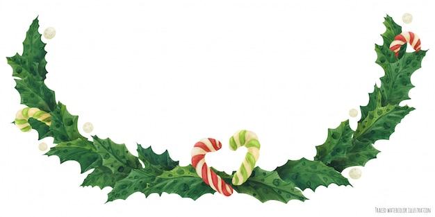 Ghirlanda di agrifoglio di natale con bastoncini di zucchero, illustrazione ad acquerello