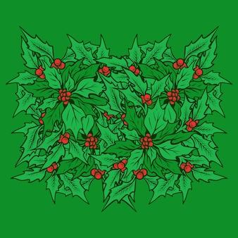 Tiraggio della mano dell'illustrazione delle foglie dell'agrifoglio di natale