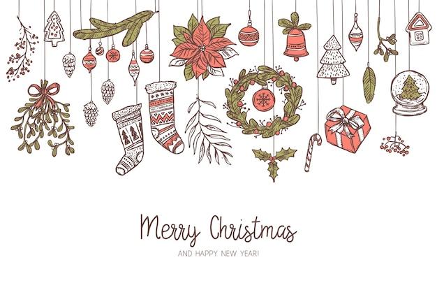 Sfondo di disegno orizzontale di natale con diverse icone ed elementi festivi sospesi. vischio, calze, rami di abete e abete rosso, ghirlanda, campana. illustrazione disegnata a mano di doodle