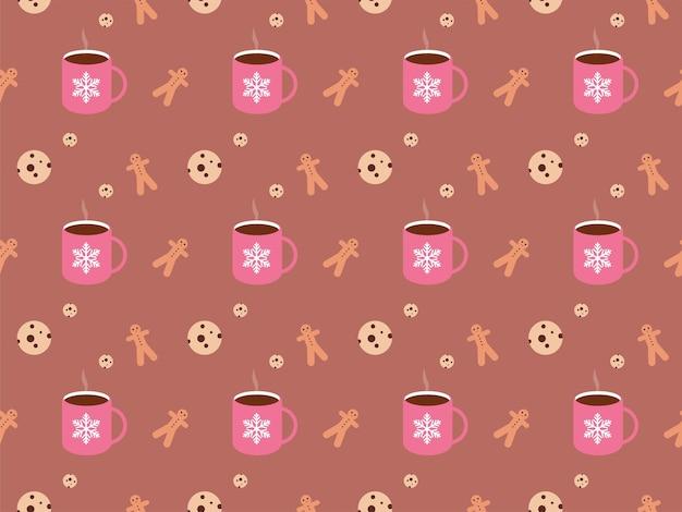 Natale cioccolata calda ginger bread man biscotti modello di natale illustrazione di natale