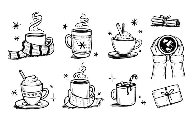 Set di bevande calde di natale di caffè invernale, tè, cioccolato. stile schizzo disegnato a mano. bere tazza, tazza con sciarpa invernale. illustrazione vettoriale.
