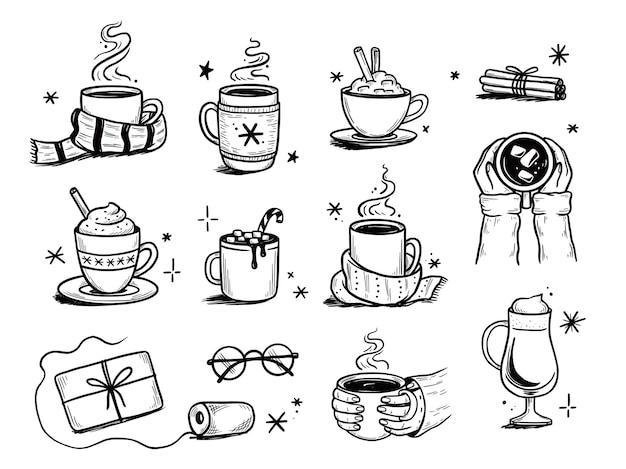 Set di bevande calde natalizie di caffè invernale, tè, cioccolato. stile schizzo disegnato a mano. bere tazza, tazza con sciarpa invernale. illustrazione vettoriale.