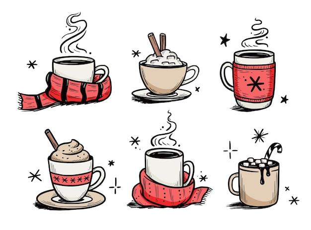 Set di bevande calde di natale di caffè invernale, tè. stile schizzo disegnato a mano. bere tazza, tazza con sciarpa invernale. illustrazione vettoriale.