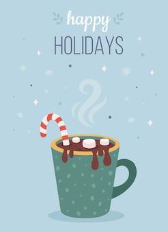 Bevanda calda natalizia con marshmallow e bastoncino di zucchero buone feste