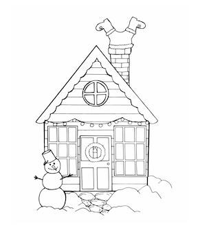 Pupazzo di neve della casa di natale e babbo natale che si arrampicano sul caminoillustrazione vettoriale fatta a mano