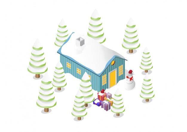 Casa di natale, albero, pupazzo di neve e scatole regalo