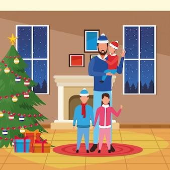 Casa di natale con il padre con i figli, illustrazione di buon natale