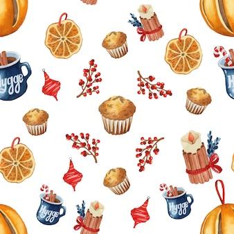 Natale hygge rustico seamless pattern acquerello