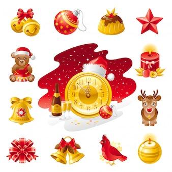 Icone di natale. set vacanza con orsetto, torta, uccello cardinale, renne, cappello da babbo natale, decorazioni natalizie.