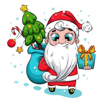Illustrazione di natale. babbo natale con albero di natale e regali. babbo natale porta doni ai bambini.