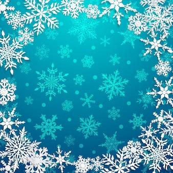 Illustrazione di natale con cornice circolare di grandi fiocchi di neve bianchi con ombre su sfondo azzurro