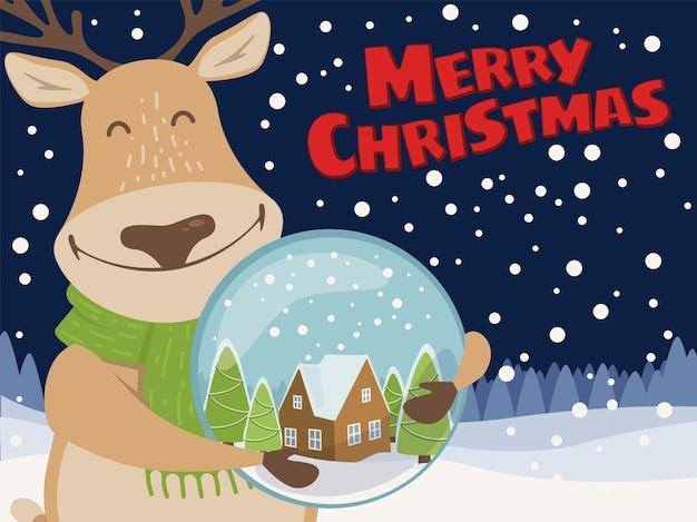 Illustrazione di natale con sfondo innevato di notte. renna rudolph felice carina con globo di neve.