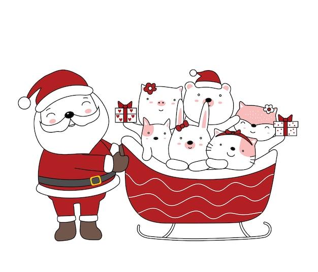 Illustrazione di natale con babbo natale e simpatico animaletto con santa auto stile cartone animato disegnato a mano