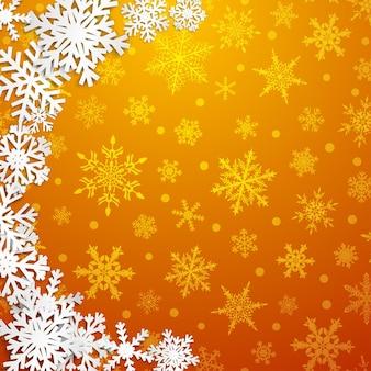 Illustrazione di natale con semicerchio di grandi fiocchi di neve bianchi con ombre su sfondo giallo