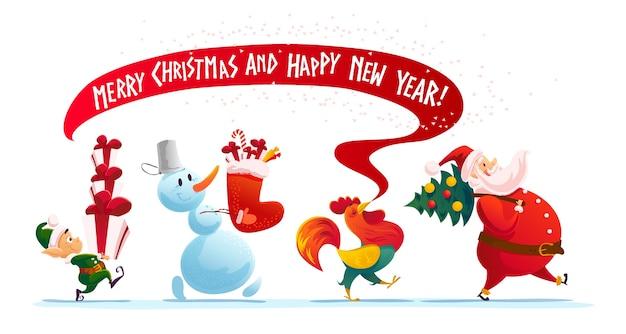 Illustrazione di natale con pupazzo di neve, babbo natale, elfo e gallo ritratto di carattere divertente isolato. stile cartone animato. felice anno nuovo e buon natale