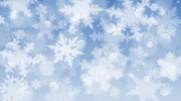 Illustrazione di natale con fiocchi di neve sfocati bianchi, riflessi e scintillii su sfondo blu