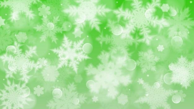 Illustrazione di natale con fiocchi di neve sfocati bianchi, riflessi e scintillii su sfondo verde
