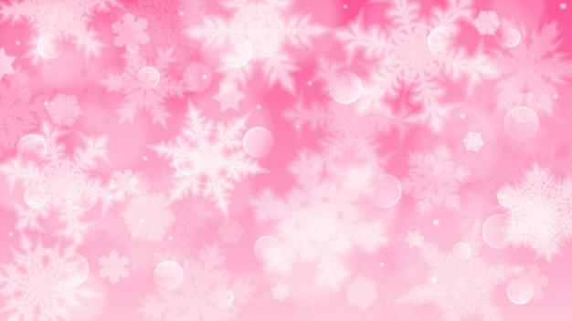 Illustrazione di natale con fiocchi di neve sfocati bianchi, riflessi e scintillii su sfondo rosa