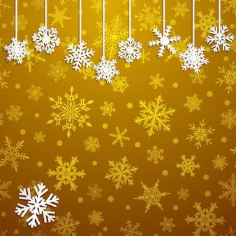 Illustrazione di natale con fiocchi di neve appesi bianchi su sfondo dorato