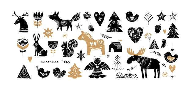 Illustrazioni di natale, elementi disegnati a mano di banner design e icone in stile scandinavo