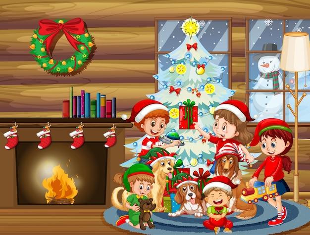 Scena natalizia al coperto con molti bambini e simpatici cani
