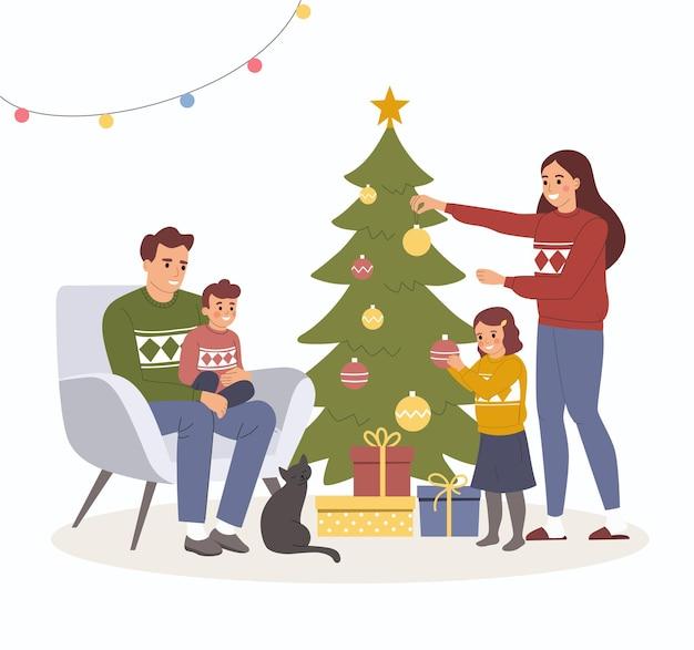 Interni di natale. famiglia vicino all'albero di natale e alla decorazione. illustrazione del fumetto di vettore stile piano