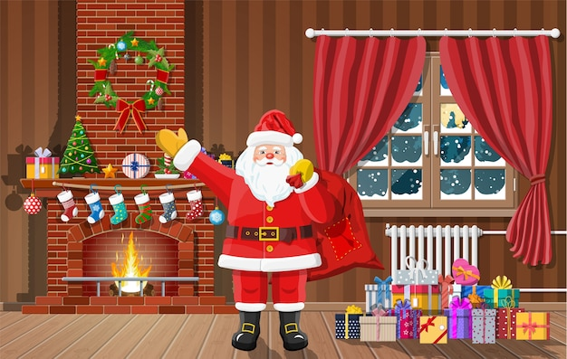 Interno di natale della stanza con finestra, regali di babbo natale e caminetto decorato. felice anno nuovo decorazione. buon natale vacanza. celebrazione del nuovo anno e del natale. stile piatto illustrazione