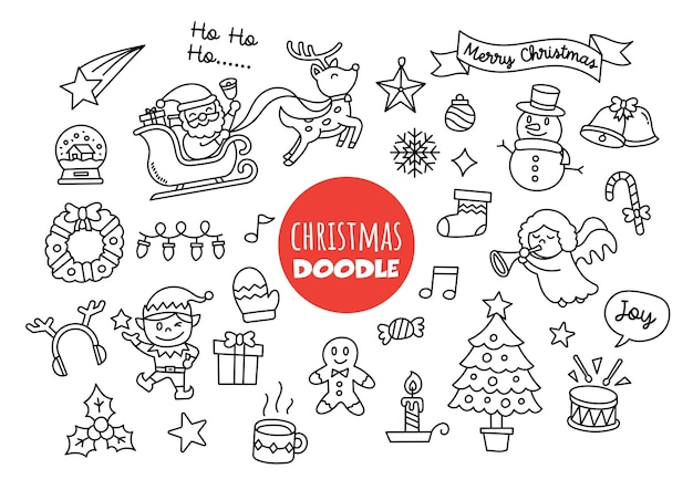 Stile di disegno a mano di doodle di natale kawaii