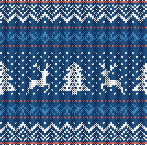Il natale tricotta l'ornamento geometrico con gli alci e gli alberi di natale in una fila. sfondo con texture a maglia. modello senza cuciture a maglia